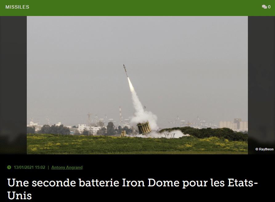 Une seconde batterie Iron Dome pour les Etats-Unis
