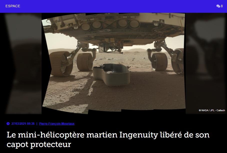 Le mini-hélicoptère martien Ingenuity libéré de son capot protecteur
