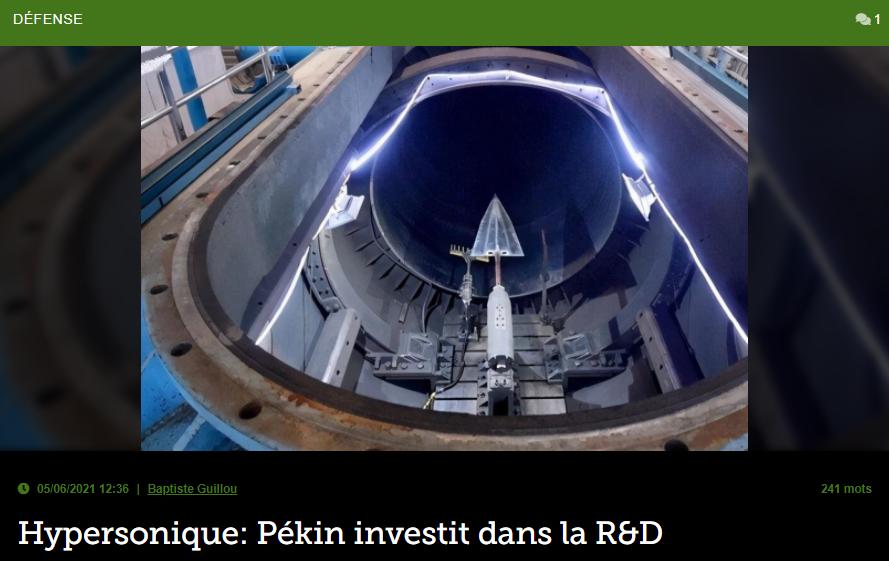 Hypersonique: Pékin investit dans la R&D
