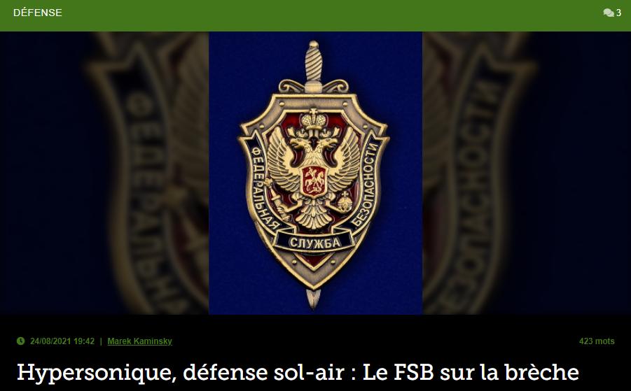 Hypersonique, défense sol-air: Le FSB sur la brèche