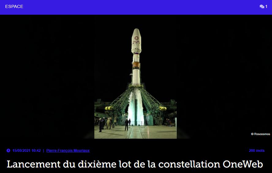 Lancement du dixième lot de la constellation OneWeb