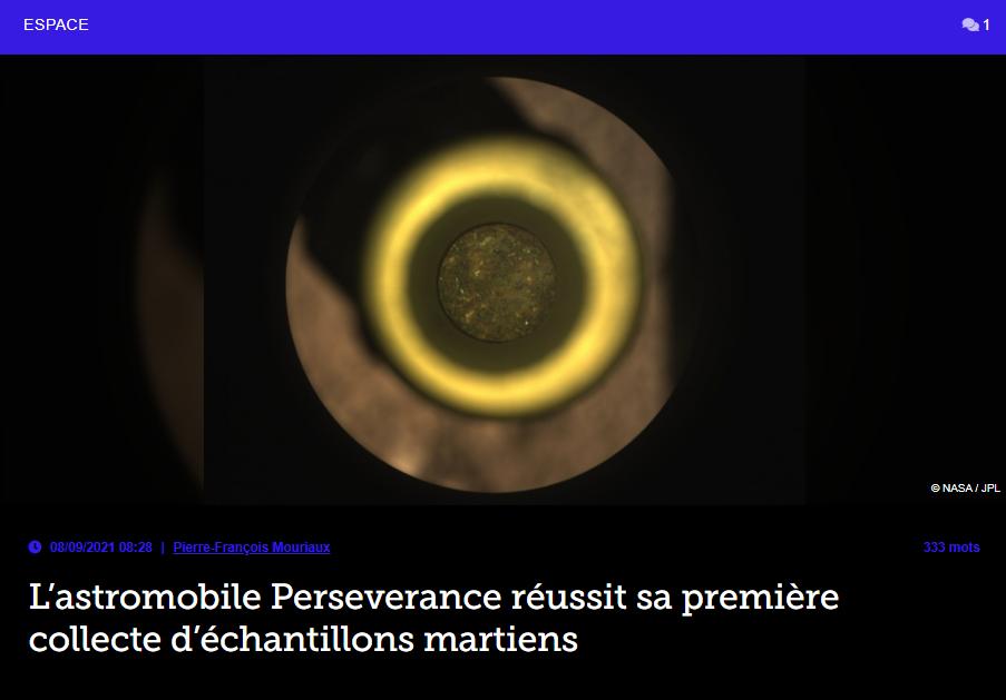 L'astromobile persévérance réussit sa première collecte d'échantillons martiens