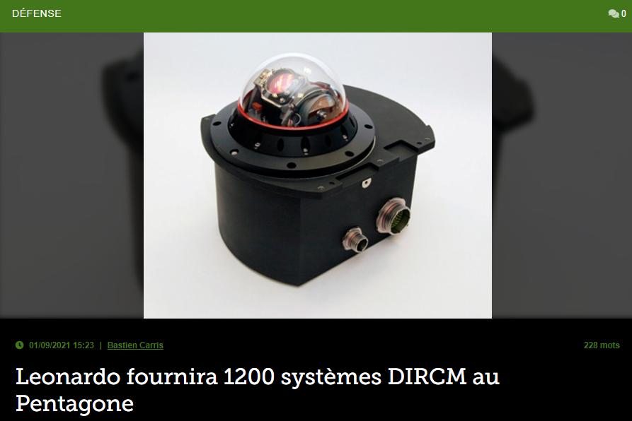Leonardo fournira 1200 systèmes DIRCM au Pentagone