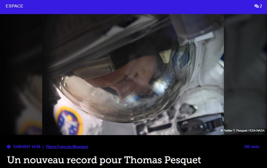 Un nouveau record pour Thomas Pesquet