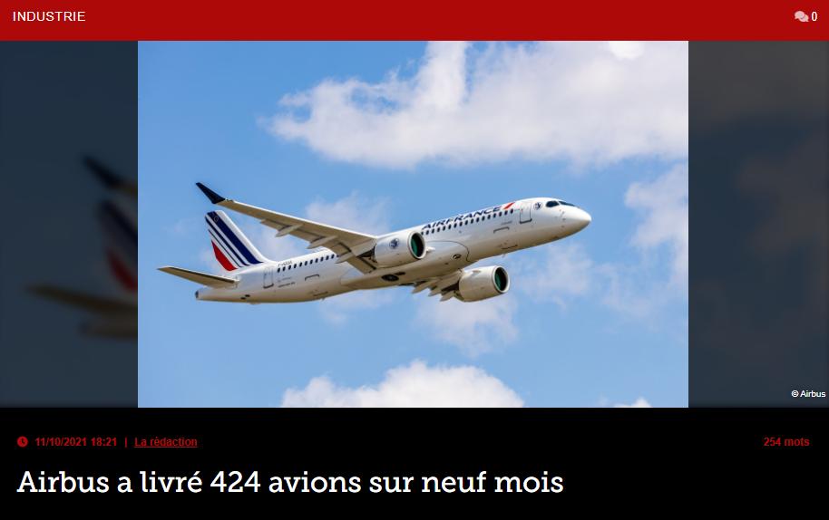 Airbus a livré 424 avions sur neuf mois